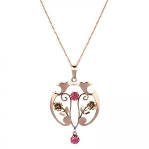 9ct-rose-gold-art-nouveau-pink-paste-pendant