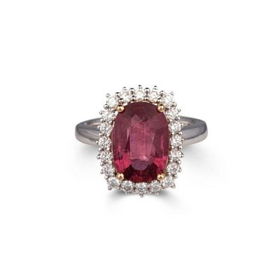 pink tourmaline and diamond cluster ring