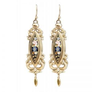 Victorian 18ct yellow gold Enamel drop earrings