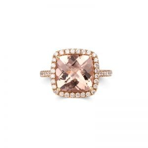 18ct Rose Gold Cushion Cut Morganite & Diamond Halo Ring