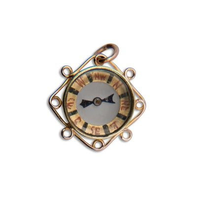 9ct Rose Gold Compass with fine scroll edges Birmingham 1918