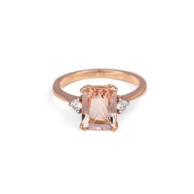 9ct Rose Gold Peach Pink Morganite and radiant cut Diamond Ring