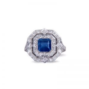 18ct Yellow Gold Sapphire and Diamond Art Deco Style Ring.