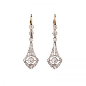 Art Deco antique 18ct Yellow Gold & White Gold Teardrop Diamond Earrings
