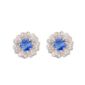 18ct White Gold Sapphire & Diamond Flower Studs with heart shape petals.