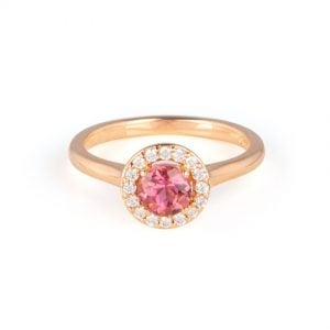 18ct Rose Gold Round Pink Tourmaline and Diamond Cluster Ring.