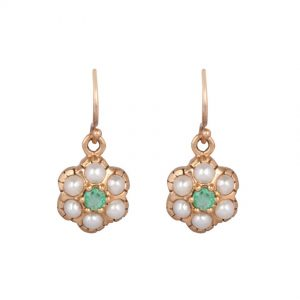 Seed Pearl & Emerald Daisy Cluster Earrings