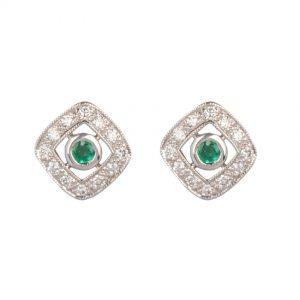 art deco emerald and diamond stud earrings