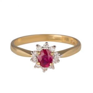 18ct Yellow Gold Burmese Ruby Diamond Cluster Ring