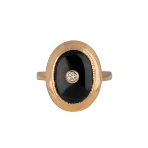 9ct Yellow Gold Large Oval Onyx and Diamond Double Bezel Ring