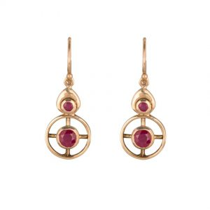 9ct Yellow Gold Ruby Circular Design Drop Earrings.