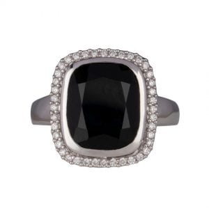 Onyx Diamond Halo Ring